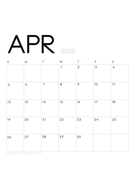 April 2020 Calendar Monthly Planner