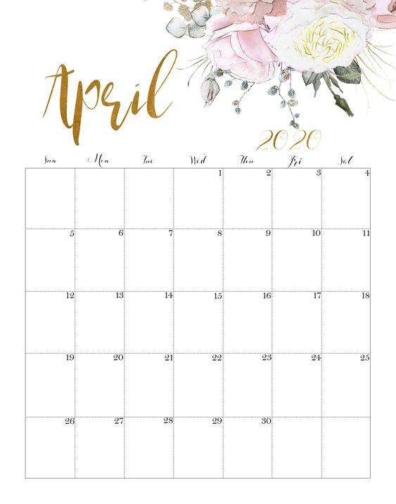 April 2020 Floral Calendar Free Printable