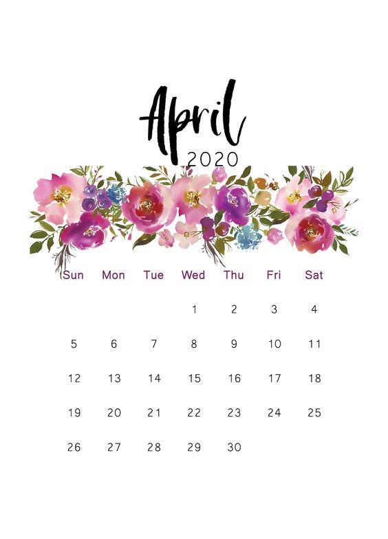 Cactus April 2020 Calendar Printable
