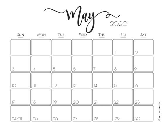 Elegant May 2020 Calendar Ideas Example