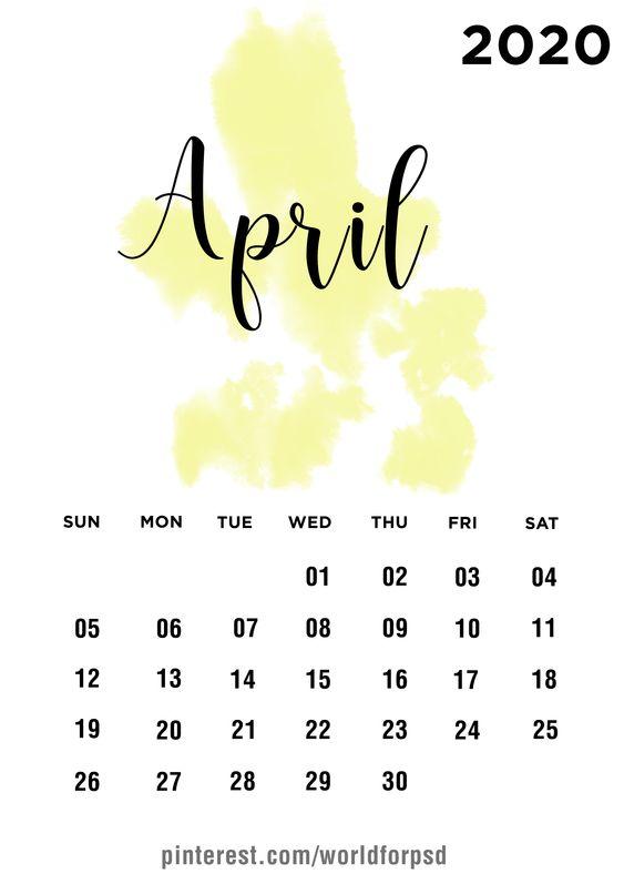Ideas Calendar April 2020 Minimal Design