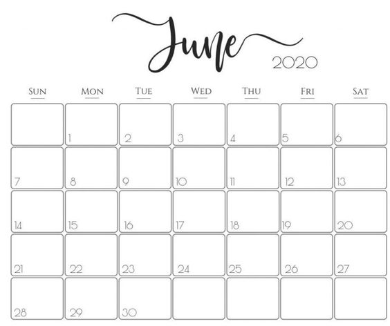 June 2020 Calendar Example Free Download