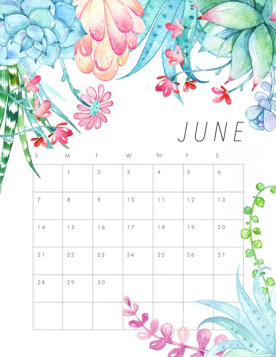June 2020 Calendar Example Free Floral Example