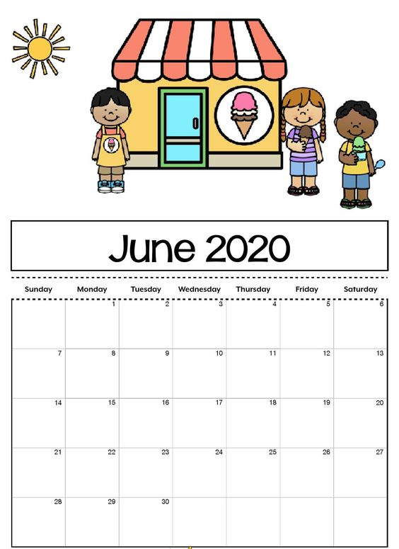 June 2020 Calendar Example Free For Kids