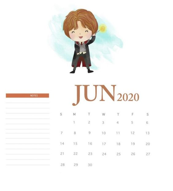 June 2020 Calendar Example Free Harry Potter