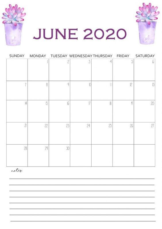 June 2020 Calendar Example Free Simple