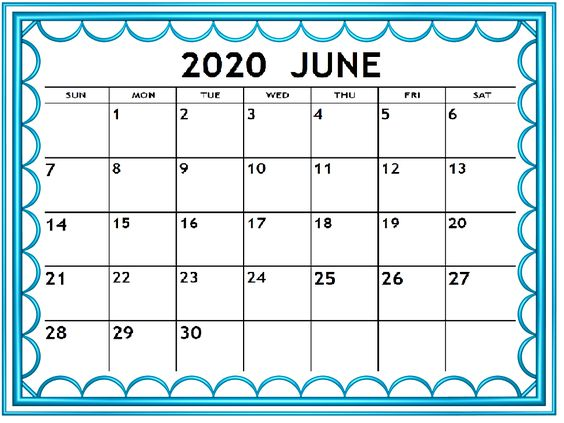 June 2020 Calendar Example Free Template Notes