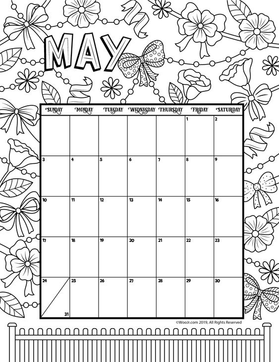 May 2020 Calendar Ideas Example Coloring