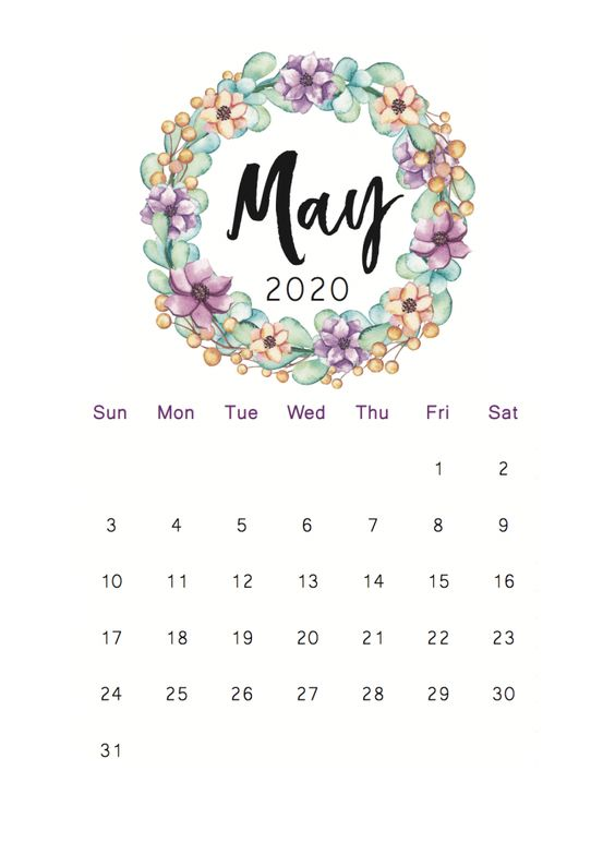 May 2020 Calendar Ideas Example Floral