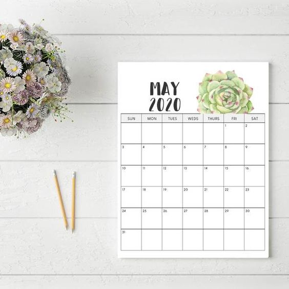 May 2020 Calendar Ideas Example For Office