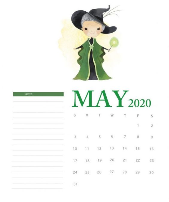 May 2020 Calendar Ideas Example Harry Potter