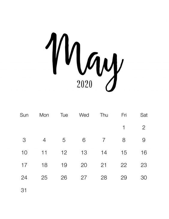 May 2020 Calendar Ideas Example Minimalist