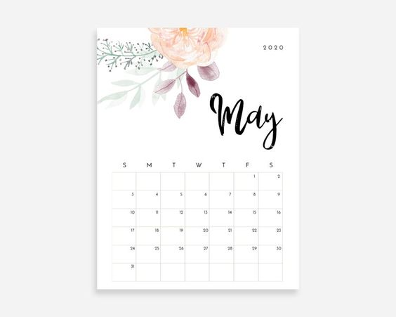 May 2020 Calendar Ideas Example Watercolor Flower Floral