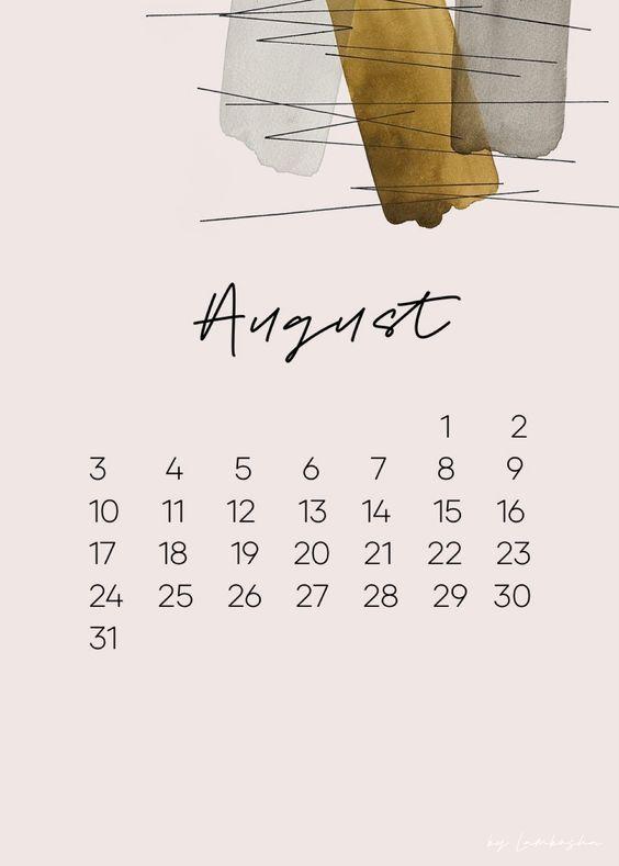 Art August 2020 Calendar Printable Cute