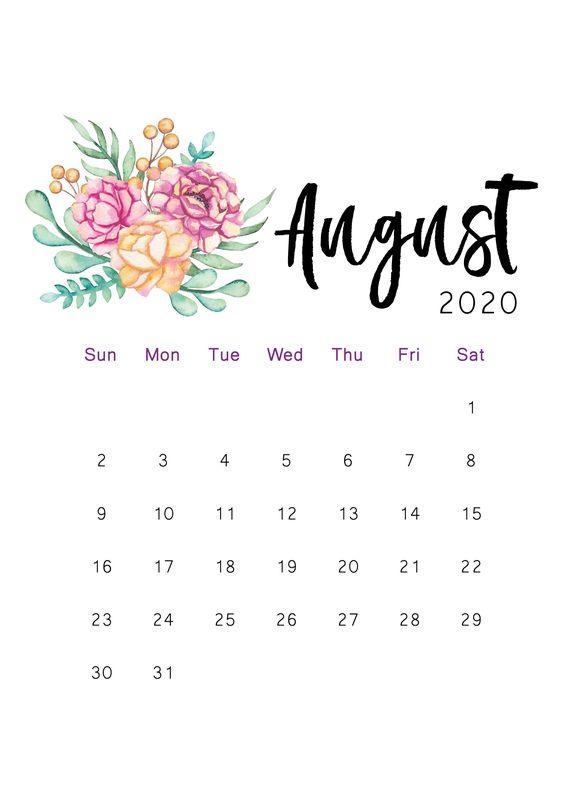 Beatiful Flower Painting August 2020 Calendar Wallpaper Iphone