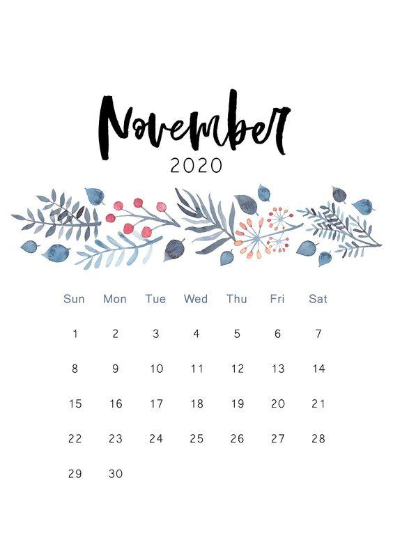 Cactus November 2020 Calendar Floral