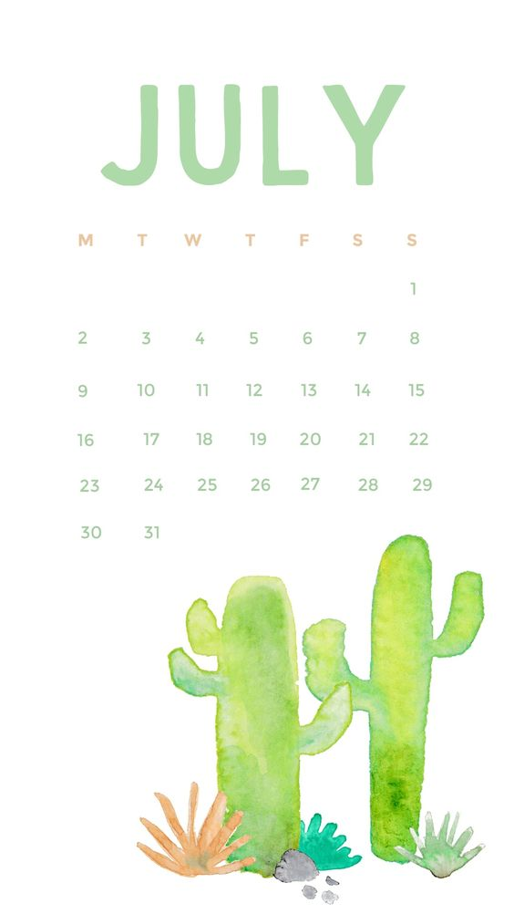 Cactus Watercolor July Wallpaper Iphone