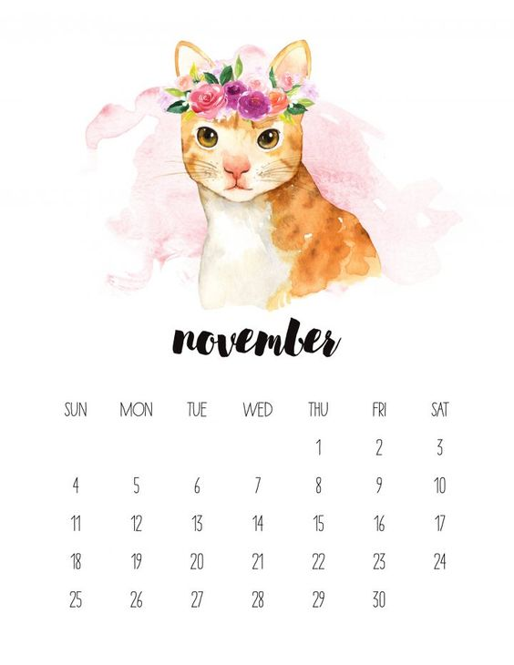 Cat November 2020 Calendar Watercolor Animal
