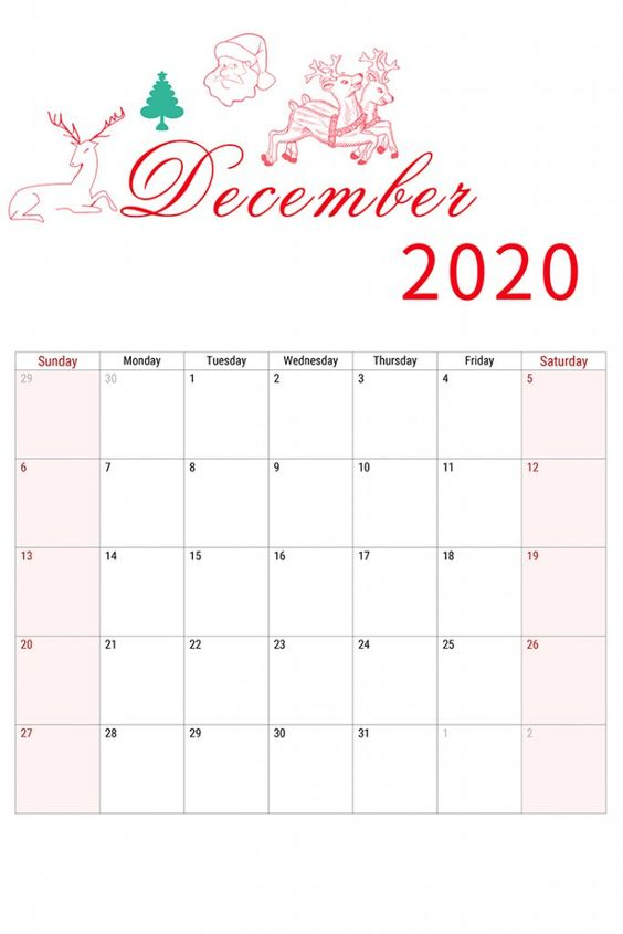 Christsmast December 2020 Calendar Inspiration Design