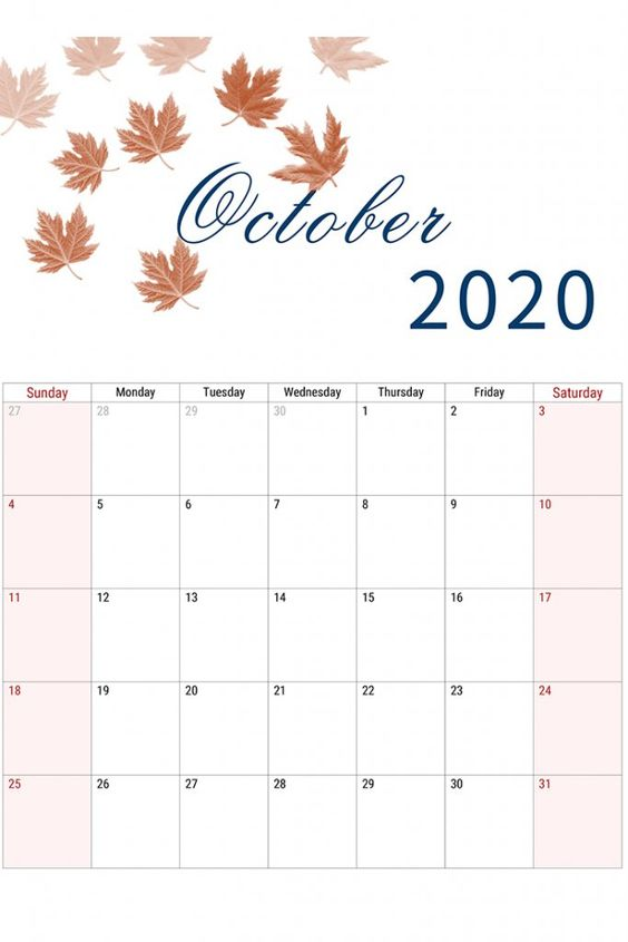 Coklat Leaves Cute October 2020 Calendar Ideas