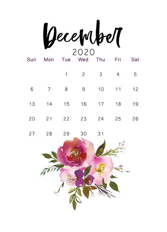 December 2020 Calendar Inspiration Design Cactus