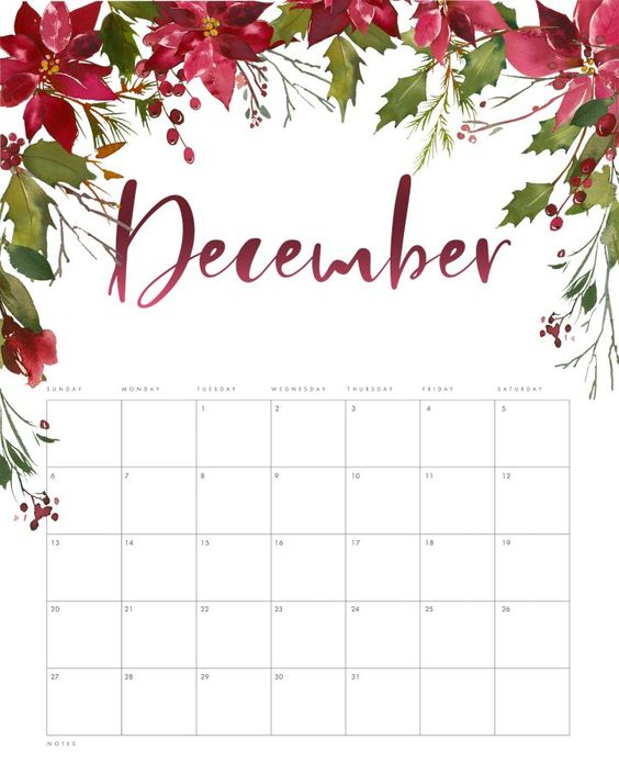 December 2020 Calendar Inspiration Design Floral Drop
