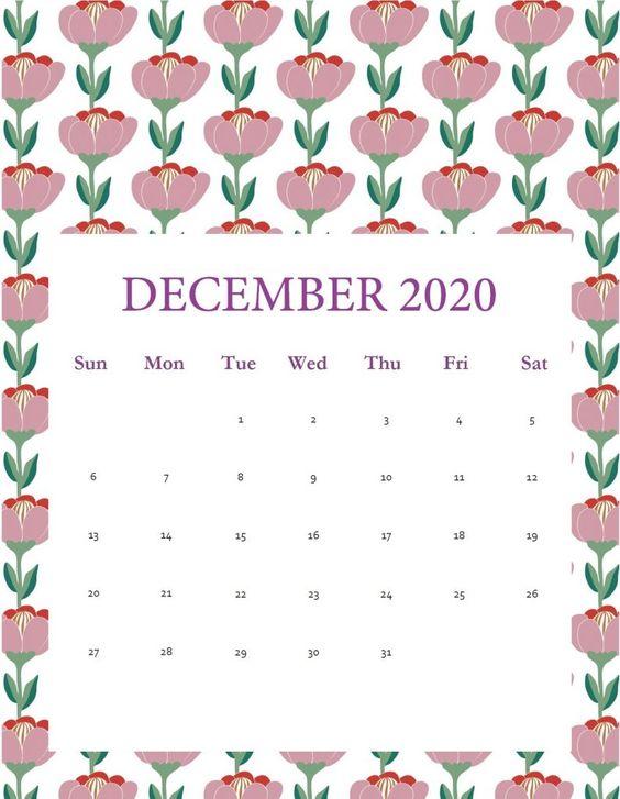 December 2020 Calendar Inspiration Design Flower Floral