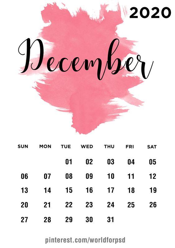 December 2020 Calendar Inspiration Design Ideas