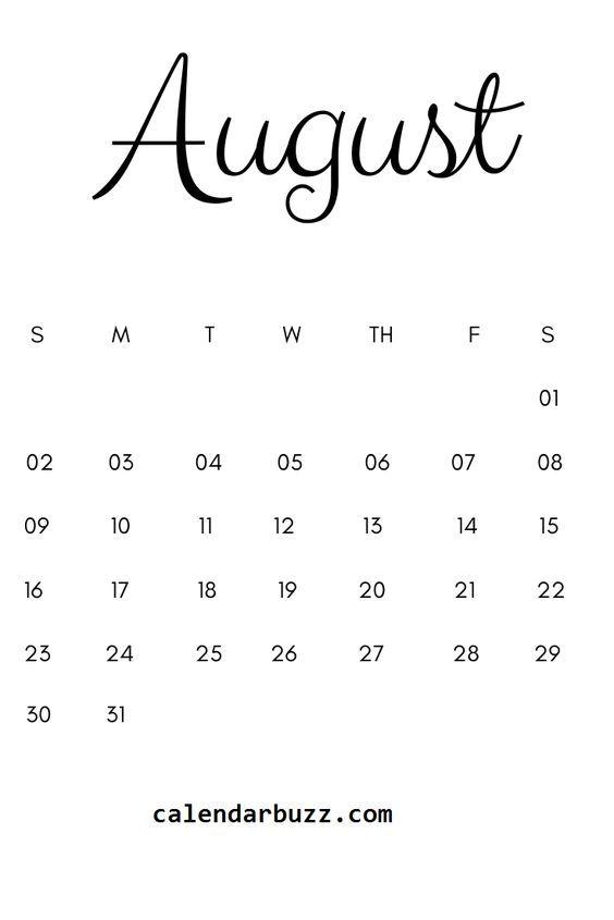 Example August 2020 Calendar Printable Title