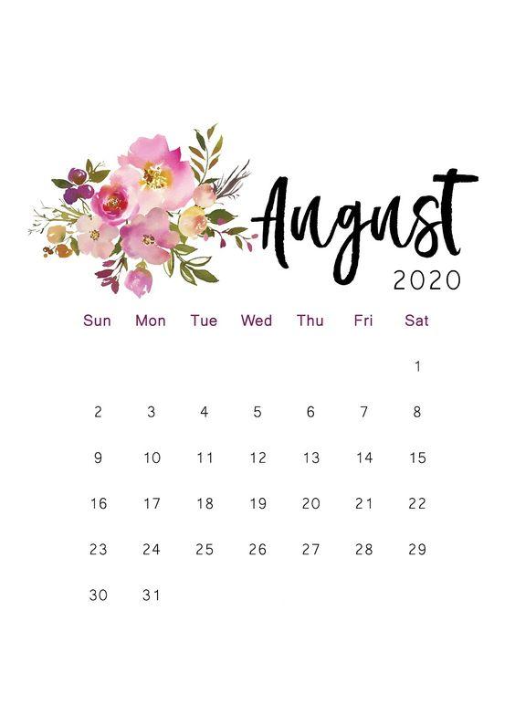 Floral Flower August 2020 Calendar Printable