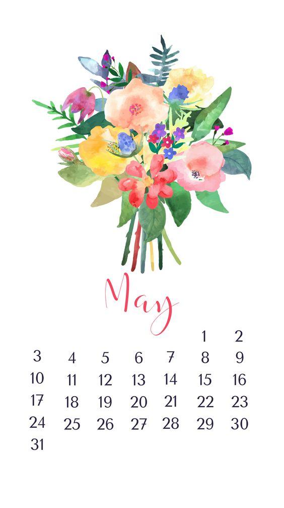 Floral Flower May 2020 Calendar Wallpaper Iphone