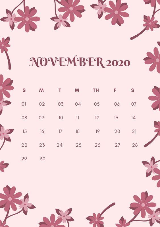 Floral November 2020 Calendar Monthly Free
