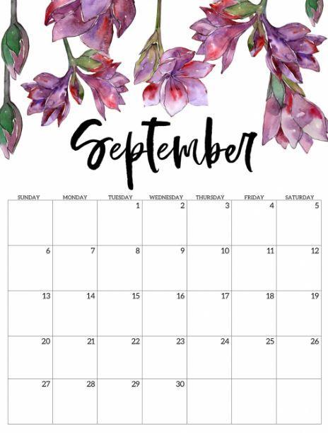 Floral September 2020 Calendar Cute Free