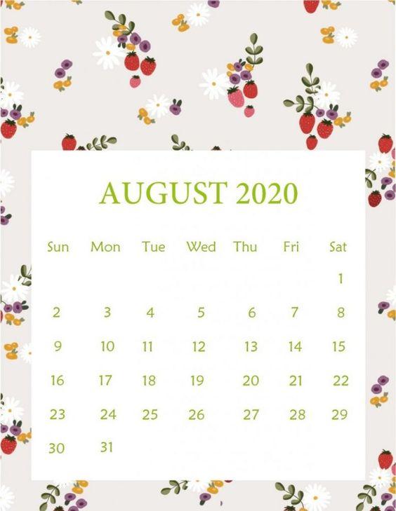 Flower August 2020 Calendar Printable