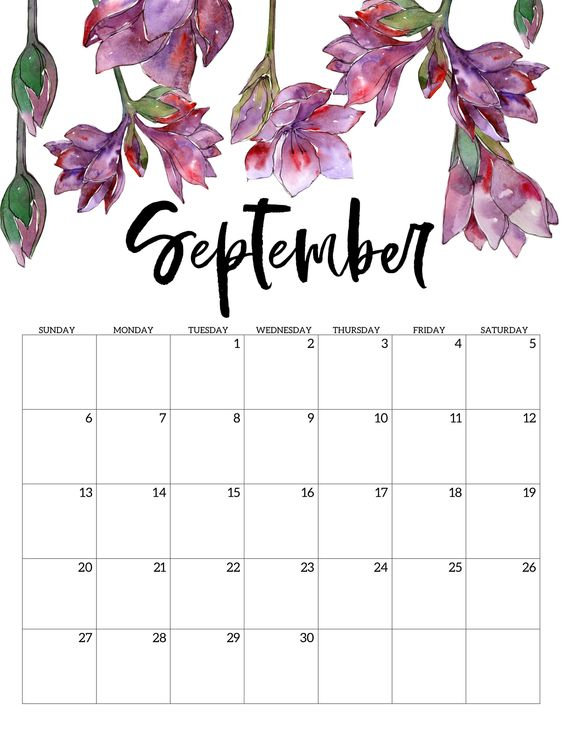 Flower Floral September 2020 Calendar Cute Free