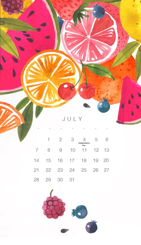 Fruit Watercolor 2020 July Calendar Walppaper