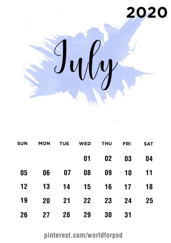 Ideas July 2020 Calendar Wallpaper
