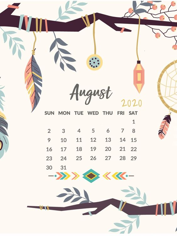 Iphone August 2020 Calendar Printable Floral
