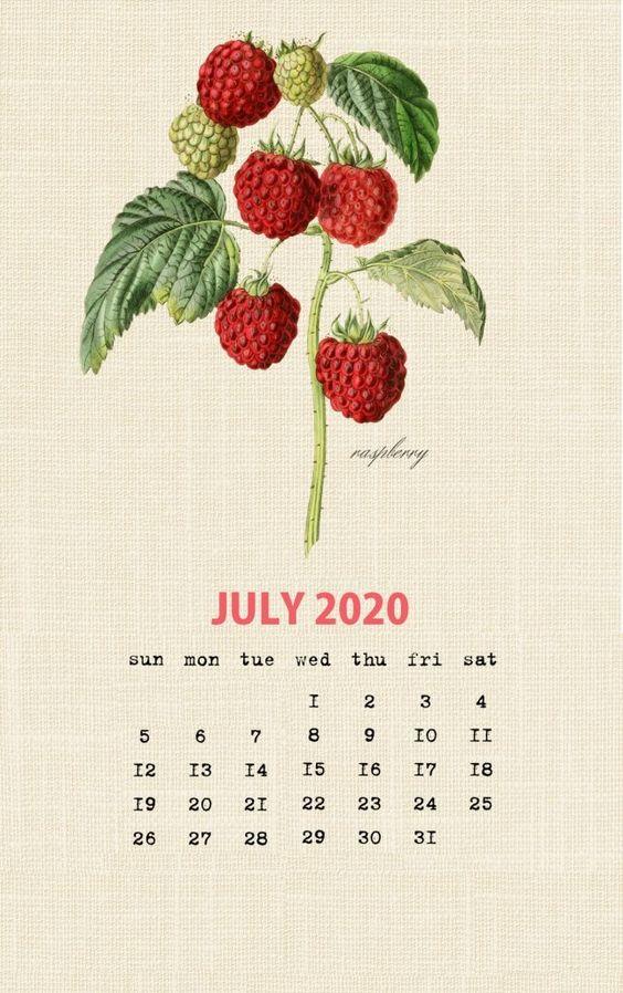 July 2020 Calendar Wallpaper Botanical