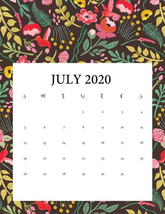 July 2020 Calendar Wallpaper Floral