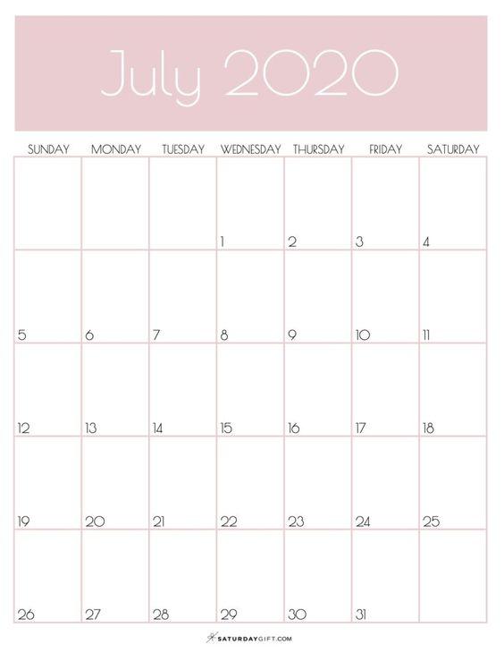July 2020 Calendar Wallpaper Pink Heade Title Simplpe