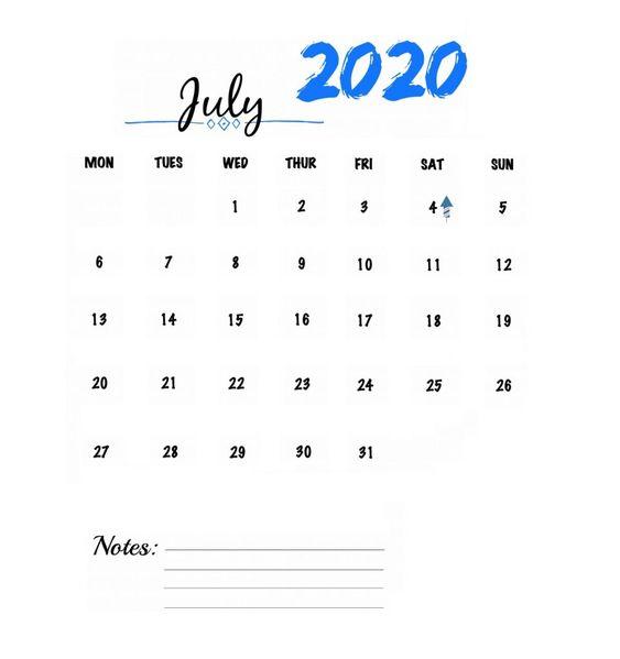 July 2020 Calendar Wallpaper Watercolor Simple