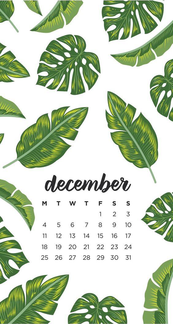 Leaves December 2020 Calendar Inspiration Design