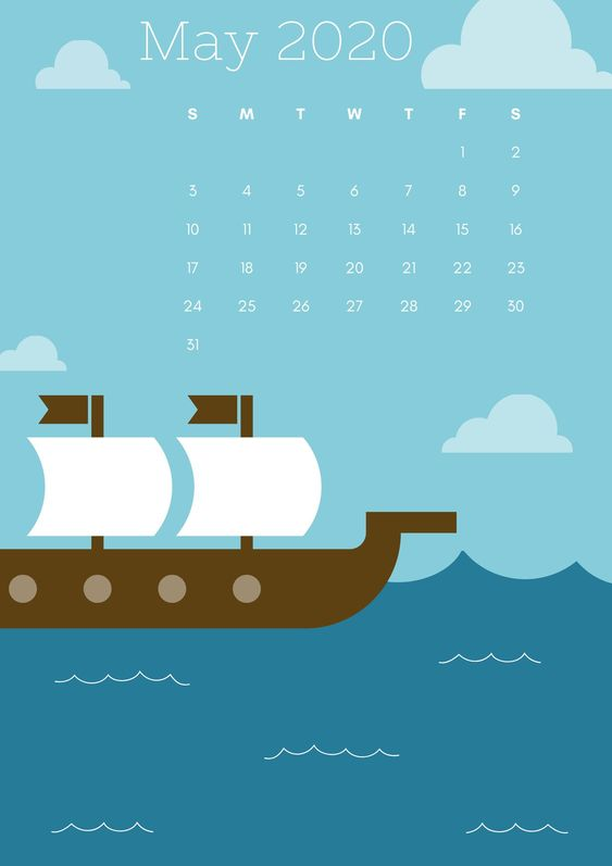 May 2020 Calendar Wallpaper Iphone Blue Sea