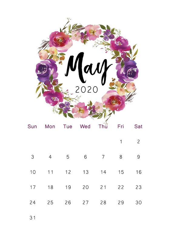 May 2020 Calendar Wallpaper Iphone Floral Free