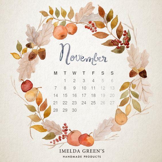 November 2020 Calendar Handletering