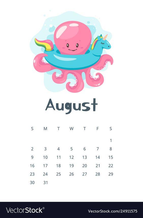 Octopus August 2020 Calendar Printable Cute Colorful