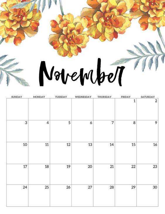 Paper Trail November 2020 Calendar