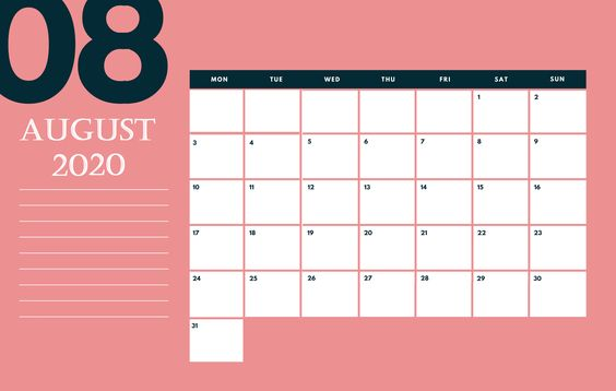 Pink Background August 2020 Calendar Printable With Note