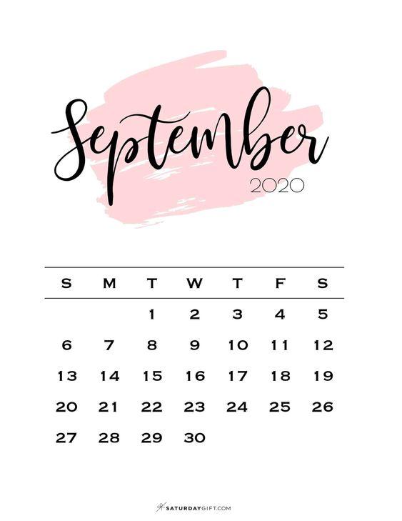 Pink Watercolor September 2020 Calendar Cute Free